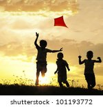 children running with kite | Shutterstock . vector #101193772