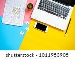 top view of blank notebook ... | Shutterstock . vector #1011953905