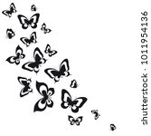 black butterfly  isolated on a... | Shutterstock .eps vector #1011954136
