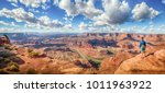 panoramic view of young hiker... | Shutterstock . vector #1011963922