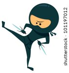 Cute ninja with sai weapon