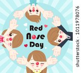 people with red nose day on the ... | Shutterstock .eps vector #1011978076