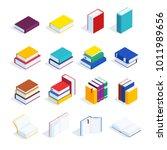 set of isometric books isolated ... | Shutterstock .eps vector #1011989656