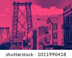 williamsburg bridge cityscape... | Shutterstock . vector #1011990418