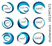 set of blue swirl circles... | Shutterstock .eps vector #1011997672