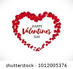 Stock vector happy valentines day illustration beautiful heart of red rose petals and discription isolated on 1012005376