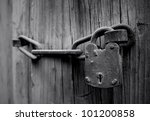 Old Wooden Door With Chain Key...