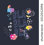 cool t shirt design in doodle... | Shutterstock .eps vector #1012012096