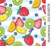 seamless fresh fruits pattern...   Shutterstock .eps vector #1012018378