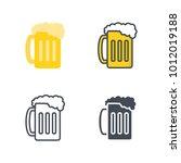 beer glass flat line icon   Shutterstock .eps vector #1012019188