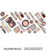 vector set with colour make up... | Shutterstock .eps vector #1012023325