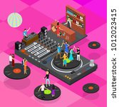 dj club bar concept 3d... | Shutterstock .eps vector #1012023415