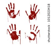 Red Bloody Scary Hands Imprint...