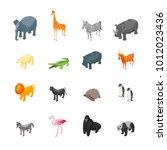 wild animals icons set... | Shutterstock .eps vector #1012023436