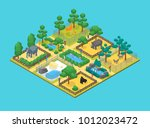 zoo concept 3d isometric view... | Shutterstock .eps vector #1012023472