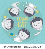 fun cat astronaut in space.... | Shutterstock .eps vector #1012025725