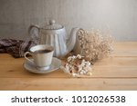tea set is gray on a wooden... | Shutterstock . vector #1012026538