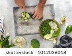 top view man cooking a detox... | Shutterstock . vector #1012036018