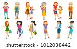 young and senior caucasian... | Shutterstock .eps vector #1012038442