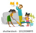 young multiracial family having ... | Shutterstock .eps vector #1012038895