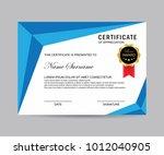 modern certificate vector | Shutterstock .eps vector #1012040905