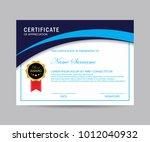 modern certificate vector | Shutterstock .eps vector #1012040932