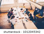 top view of multiracial group... | Shutterstock . vector #1012045342