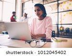 pensive afro american female... | Shutterstock . vector #1012045402