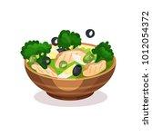 mixed salad bowl  healthy... | Shutterstock .eps vector #1012054372
