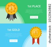 first place banners with golden ... | Shutterstock .eps vector #1012063882