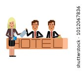 european receptionists at hotel ... | Shutterstock .eps vector #1012067836