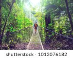 hiking in green tropical jungle ... | Shutterstock . vector #1012076182