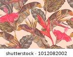 floral summer seamless vector... | Shutterstock .eps vector #1012082002