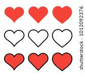 set of outline red heart icons... | Shutterstock .eps vector #1012092376