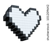 3d Pixel Heart Isolated On...