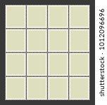 uncut sheet of blank postage... | Shutterstock .eps vector #1012096696