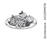 viennese apple strudel.... | Shutterstock .eps vector #1012099078