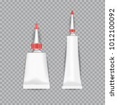 realistic  white tubes glue... | Shutterstock .eps vector #1012100092