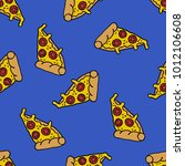 pizza seamless doodle pattern | Shutterstock .eps vector #1012106608