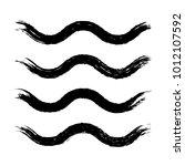 grunge waves brush strokes. set ... | Shutterstock .eps vector #1012107592