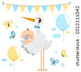 stork delivering a new baby boy.... | Shutterstock .eps vector #1012111042