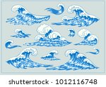 sea waves. design set. hand... | Shutterstock .eps vector #1012116748