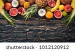 fresh tropical fruits.... | Shutterstock . vector #1012120912