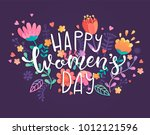 happy women's day card with... | Shutterstock .eps vector #1012121596