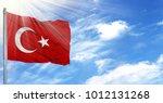 flag of turkey on flagpole... | Shutterstock . vector #1012131268