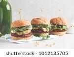 vegan beet burgers with...   Shutterstock . vector #1012135705