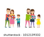 parents give  a gift to their... | Shutterstock .eps vector #1012139332