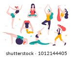 women doing sports. different... | Shutterstock .eps vector #1012144405