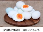 focus egg yolk  salted duck... | Shutterstock . vector #1012146676