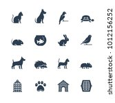 pets related vector icon set in ... | Shutterstock .eps vector #1012156252